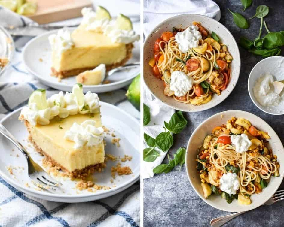 Side by side images of key lime pie and vegetable pasta