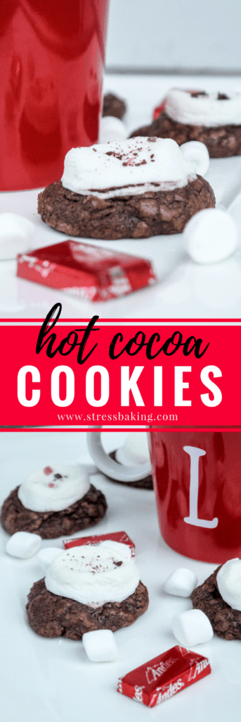 Hot Cocoa Cookies: Fudgy chocolate cookies combine with cherry Andes mints and gooey marshmallows to create the cookie equivalent to a warm, cozy mug of hot chocolate! | stressbaking.com