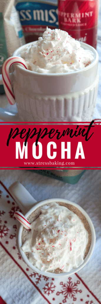 Peppermint Mocha: A spin on Starbucks' holiday favorite! Mint and chocolate come together to create the perfect cup of hot, creamy comfort. | stressbaking.com