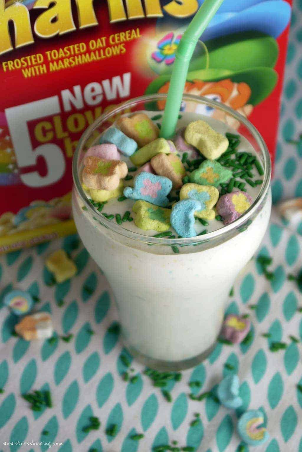 Lucky Charms Milkshake: Who says you can't have breakfast for dessert? Swap milk for ice cream to turn your cereal into an after-dinner treat! | stressbaking.com