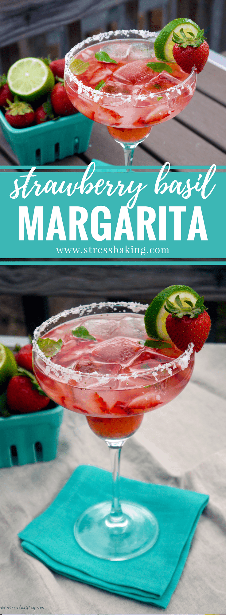 Strawberry Basil Margarita: Sweet and savory join forces for your new favorite summer cocktail! Basil provides an unexpected and refreshing take to the standard strawberry margarita. | stressbaking.com #stressbaking @stressbaking #margarita #drink #cocktail #summerdrink #summercocktail