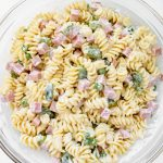 Overhead shot of a bowl of colorful pasta salad