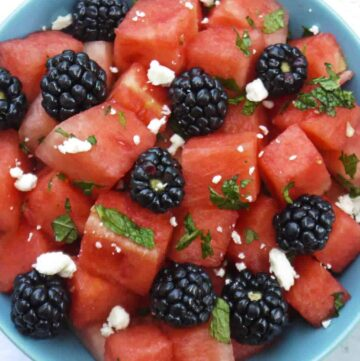 Watermelon and blackberry mint salad