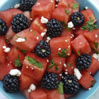 Watermelon Blackberry Mint Salad
