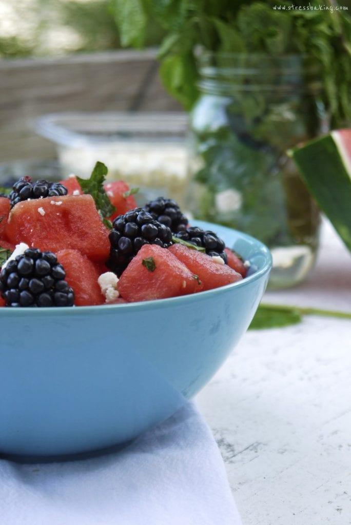 Watermelon Blackberry Mint Salad