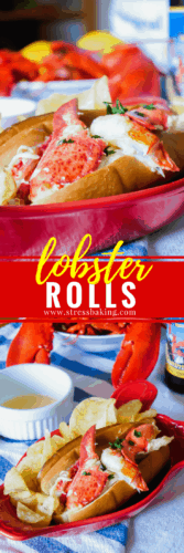 Lobster Roll: No mayo here - just buttery lobster meat lightly tossed with lemon juice and served on a toasted bun. Connecticut style lobster rolls are a New England staple! | stressbaking.com #stressbaking #lobster #seafood #lobsterroll #summer #newengland