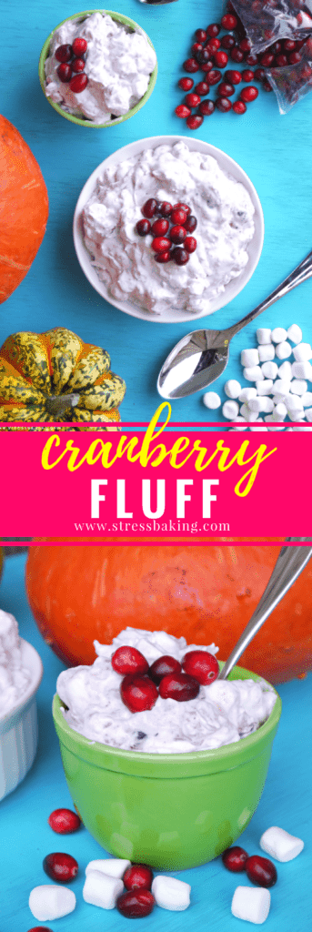 Cranberry Fluff: All you need are four ingredients to make this creamy, sweet and tangy no-bake dessert! | stressbaking.com #holidays #holidaydessert #easydessert #christmas #fluff #christmasdessert