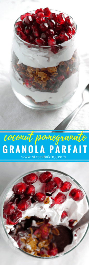 Coconut Pomegranate Granola Parfait: The perfect parfait for non-yogurt lovers! Layers of homemade granola, coconut whipped cream and fresh pomegranate arils make for an easy and healthy non-dairy, vegan breakfast. | stressbaking.com #parfait #dairyfree #granola