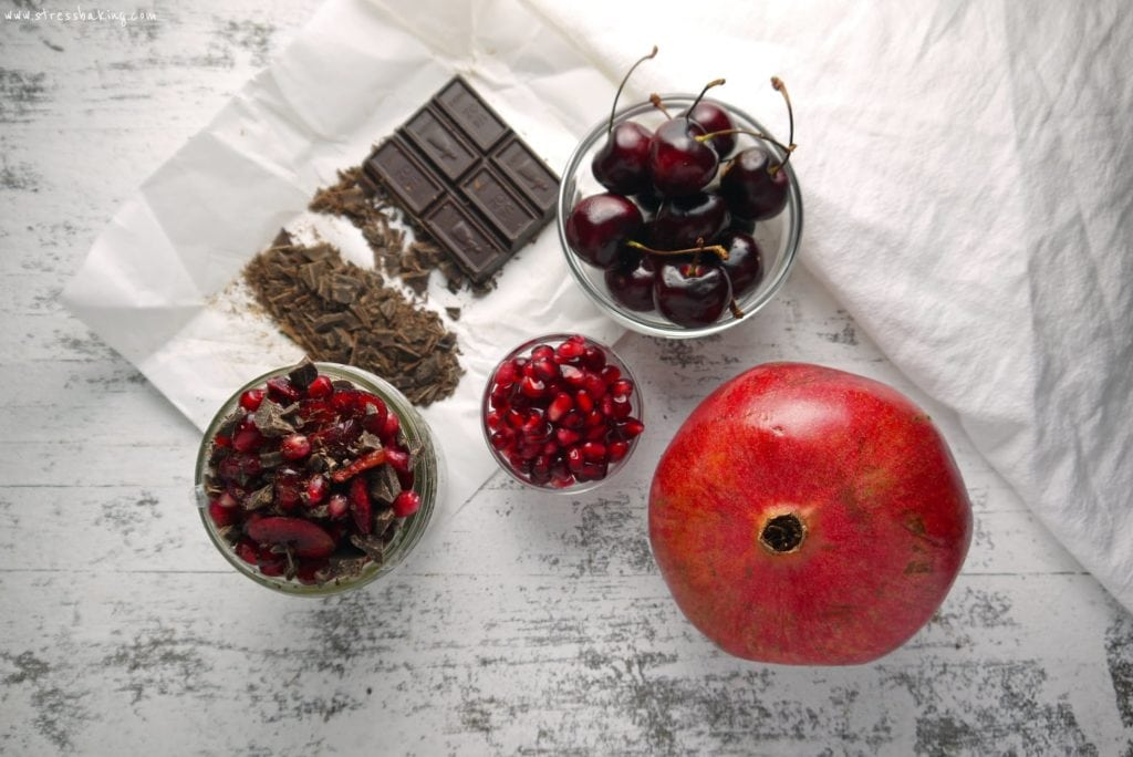 Chocolate Cherry Pomegranate Chia Pudding