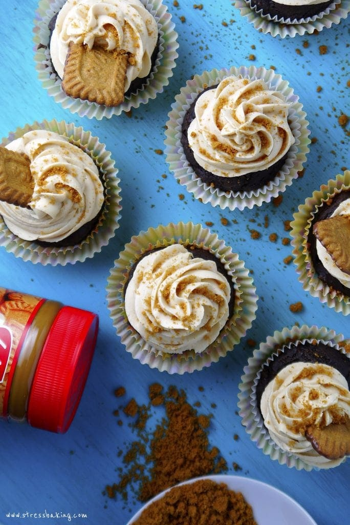 Chocolate Zucchini Cupcakes with Cookie Butter Frosting