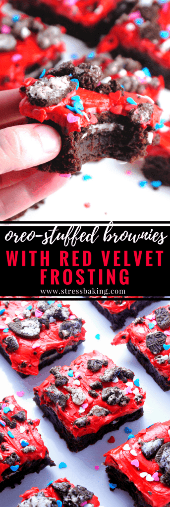 Oreo Stuffed Brownies with Red Velvet Frosting: Rich, fudgy brownies are stuffed with classic Oreos and topped with red velvet whipped cream frosting, Oreo crumbles and heart sprinkles. The perfect Valentine's Day treat! | stressbaking.com #oreo #brownies #redvelvet #valentinesday
