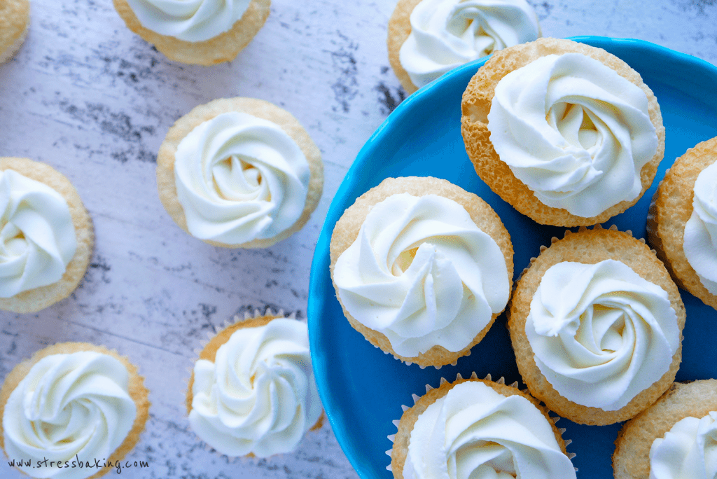 Angel food cupcakes topped with mascarpone frosting