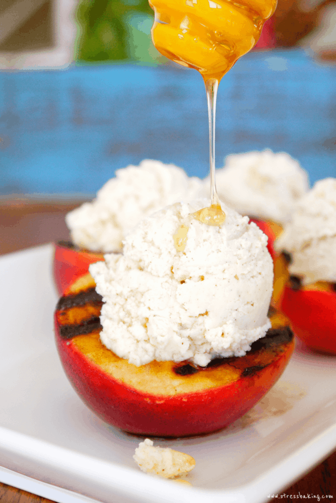 Grilled Peaches with Cinnamon Mascarpone Whipped Cream and Honey