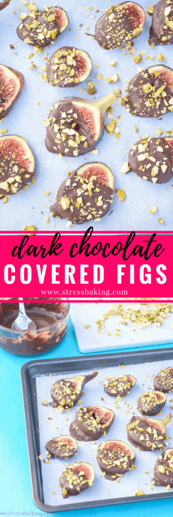 Dark Chocolate Covered Figs: Sweet, syrupy figs are gently dipped in dark chocolate for a perfectly light dessert!  stressbaking.com