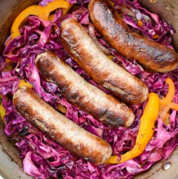 Bratwurst and Red Cabbage: Smoky sauteed vegetables are combined with sweet and sour red cabbage to make the perfect partner to juicy, flavorful beer-soaked bratwurst! | stressbaking.com