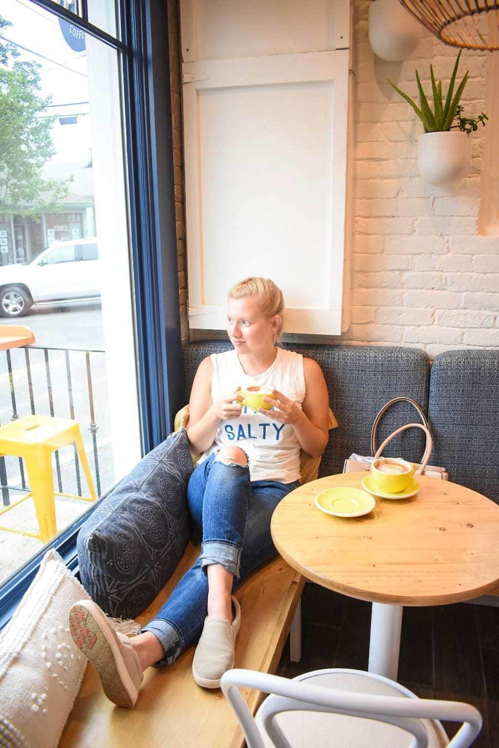 Leslie at Seabird Coffee in Cohasset, Massachusetts