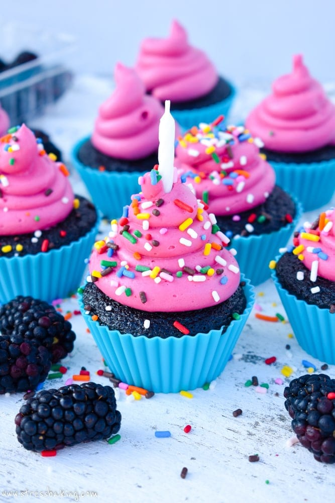 Red Wine Chocolate Cupcakes with Pink Blackberry Buttercream Frosting and rainbow sprinkles
