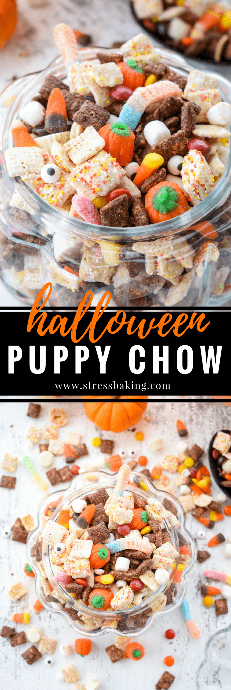 Halloween Puppy Chow: Whether you call it puppy chow or muddy buddies, the addition of Halloween candy and autumn colors turn this into the perfect festive party snack!   stressbaking.com