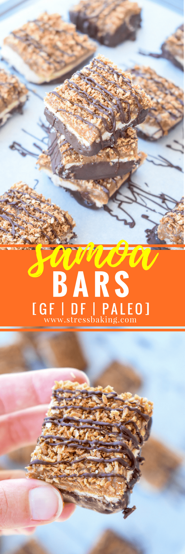 Paleo Samoa Bars: Soft shortbread, gooey caramel, and toasted coconut are dipped in chocolate and topped with a chocolate drizzle. Paleo, gluten free and dairy free! | stressbaking.com