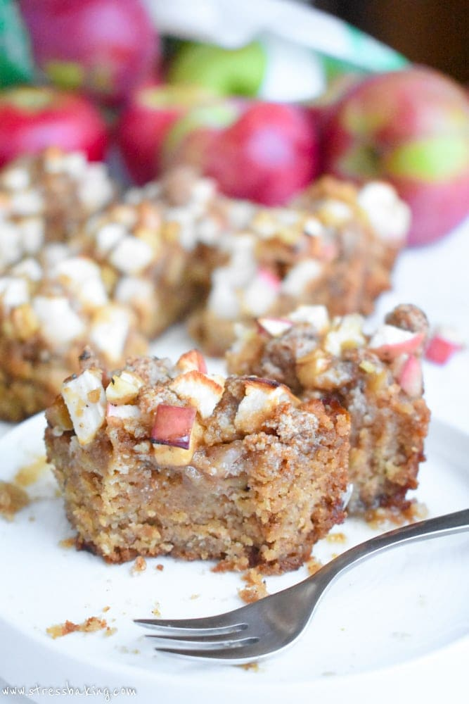 Paleo Apple Cinnamon Coffee Cake: Moist cake is packed with apple cider flavor and topped with a cinnamon apple crumb topping! | stressbaking.com