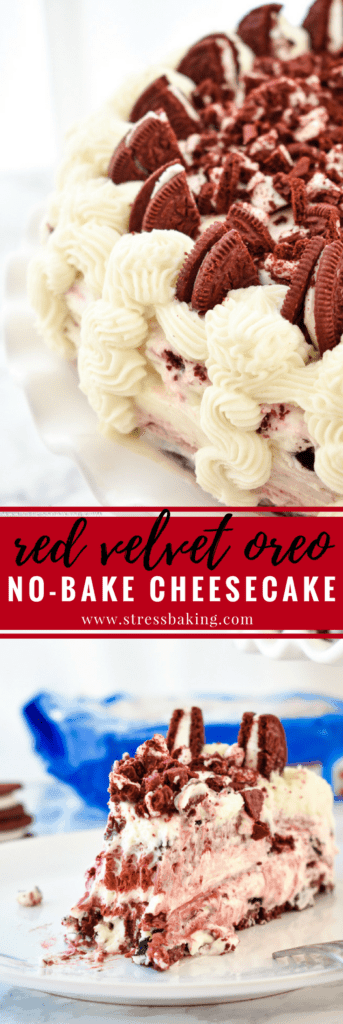 Red Velvet Oreo No-Bake Cheesecake: Supremely rich and creamy cheesecake filled with red velvet and Oreo flavors atop a Red Velvet Oreo crust. No baking required! | stressbaking.com #redvelvet #cheesecake #oreo #nobake #dessert