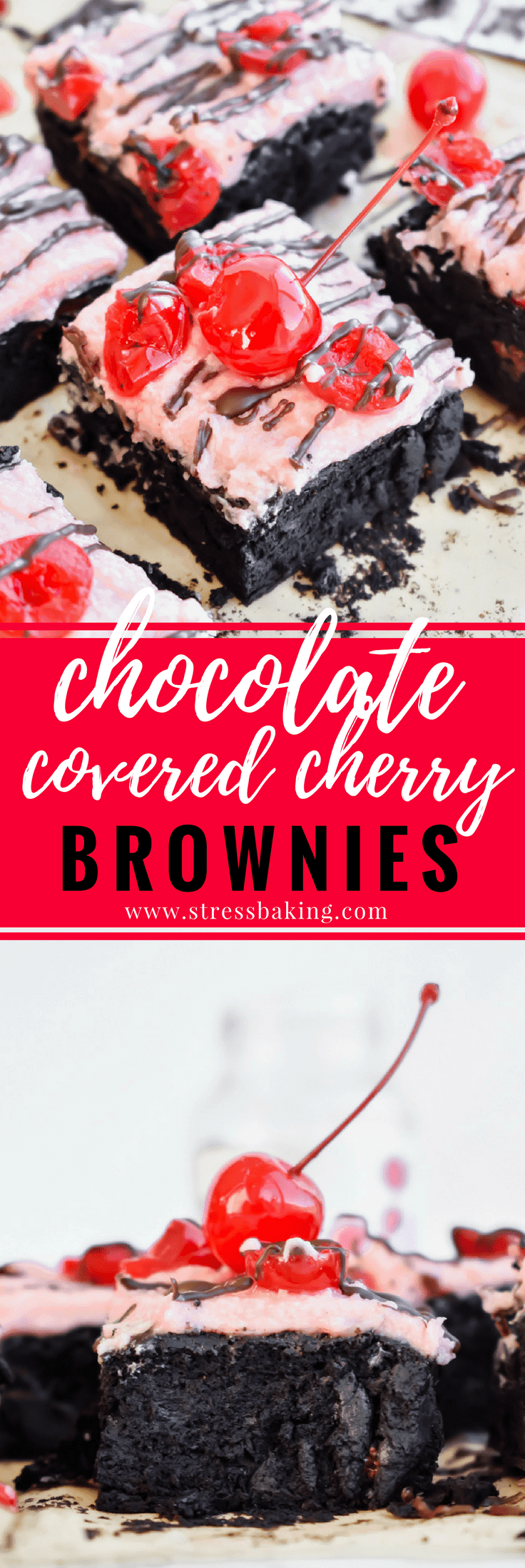 Small Batch Chocolate Covered Cherry Brownies: Rich, super fudgy dark chocolate brownies are topped with a sweet maraschino cherry buttercream frosting that tastes just like the filling of a chocolate covered cherry! | stressbaking.com #stressbaking #smallbatch #cherry #chocolate #brownies #darkchocolate #valentinesday #dessert #chocolatecoveredcherry