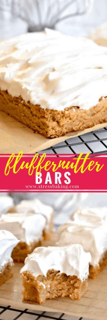 Fluffernutter Bars: Perfectly chewy peanut butter blondies are topped with sky-high, homemade marshmallow fluff! | stressbaking.com @stressbaking #stressbaking #fluffernutter #peanutbutter #blondies #fluff #bars #chewy #dessert