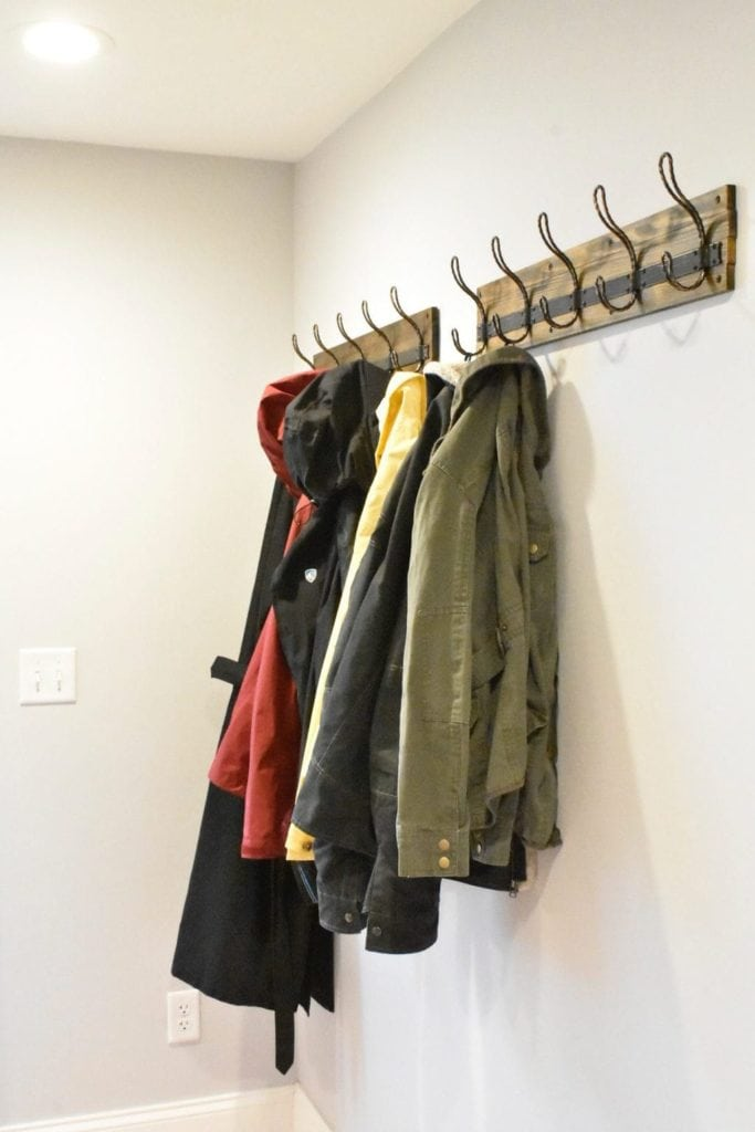 Coats hanging on Home Depot hooks