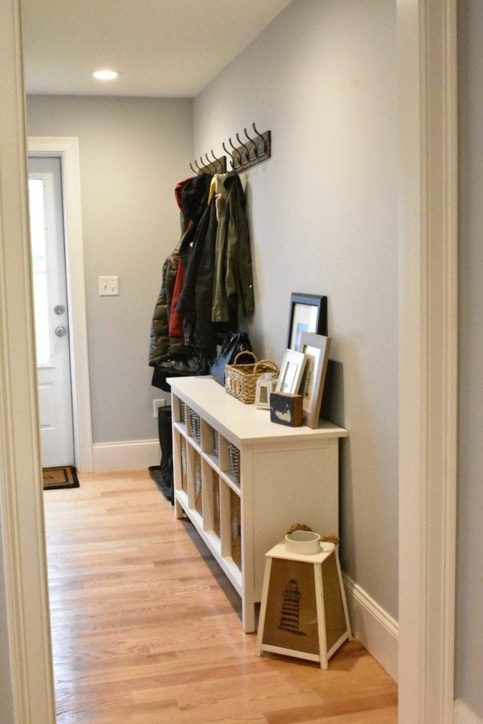 Hooks on wall from Home Depot and IKEA console table