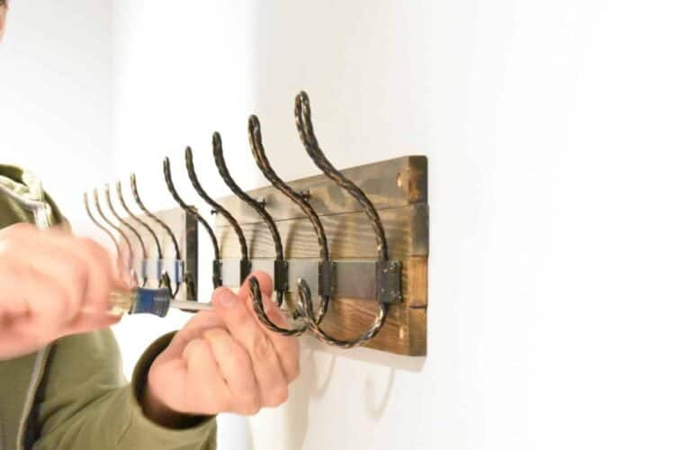 Hooks on wall from Home Depot