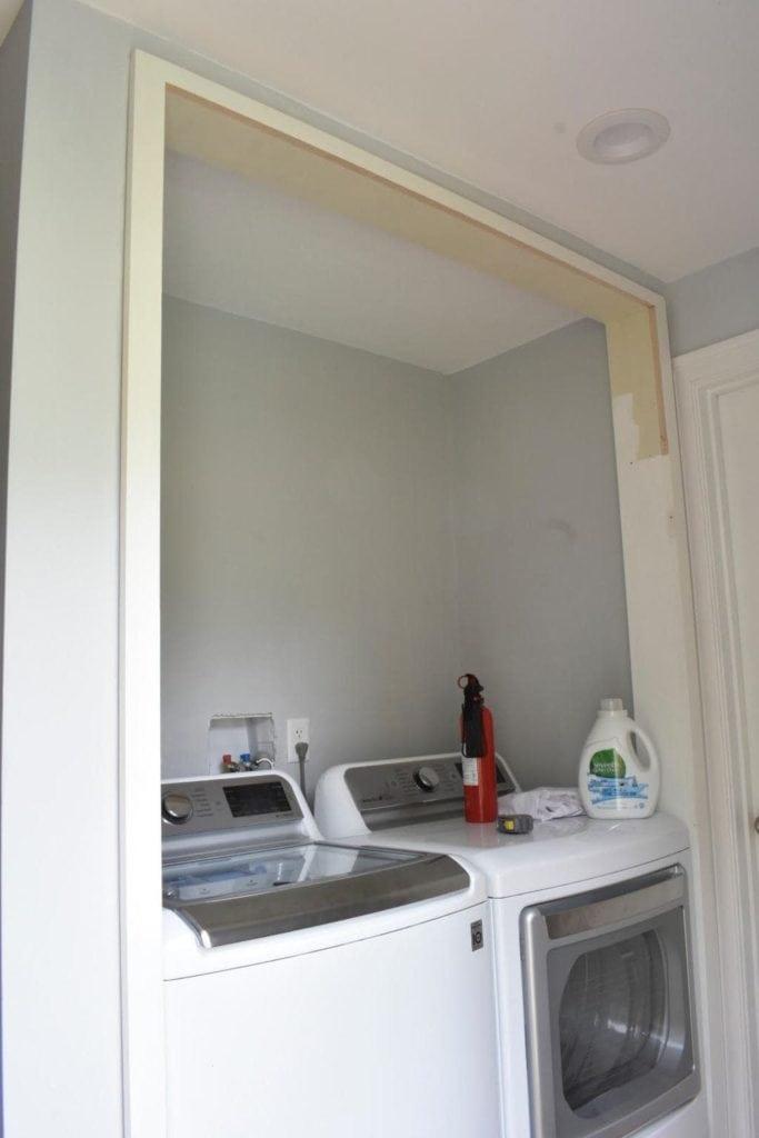 Laundry closet in progress, unfinished
