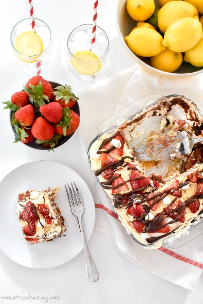 Sliced No Bake Strawberry S'mores Icebox Cake