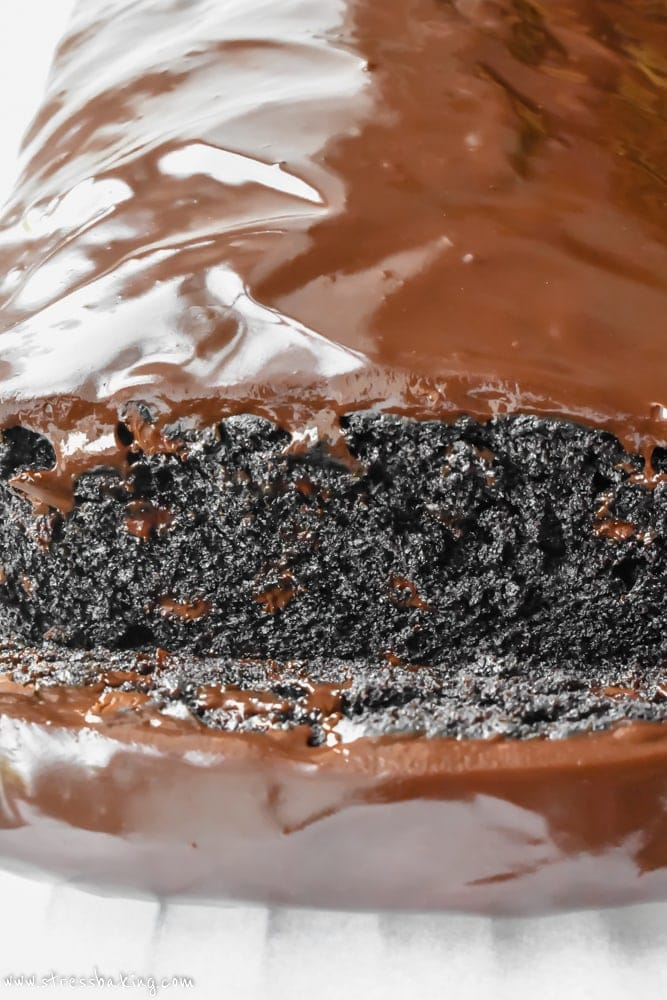 Triple chocolate banana bread loaf with chocolate ganache glaze