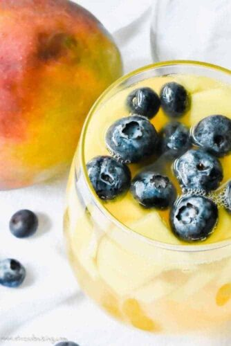 Mango Ginger Sangria with blueberries