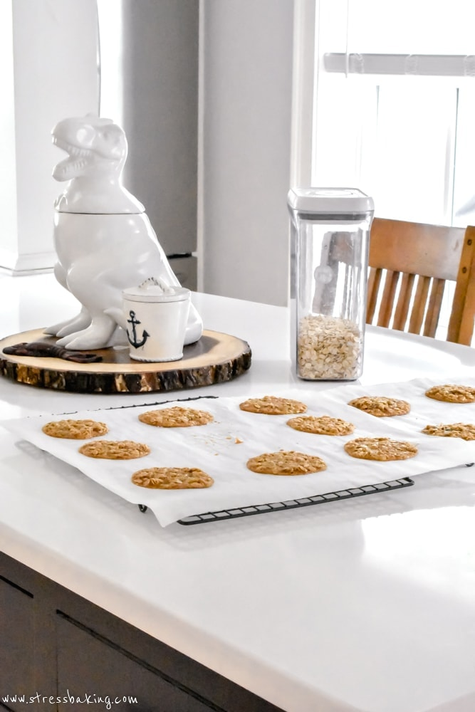 Oatmeal Lace Cookies on a kitchen island