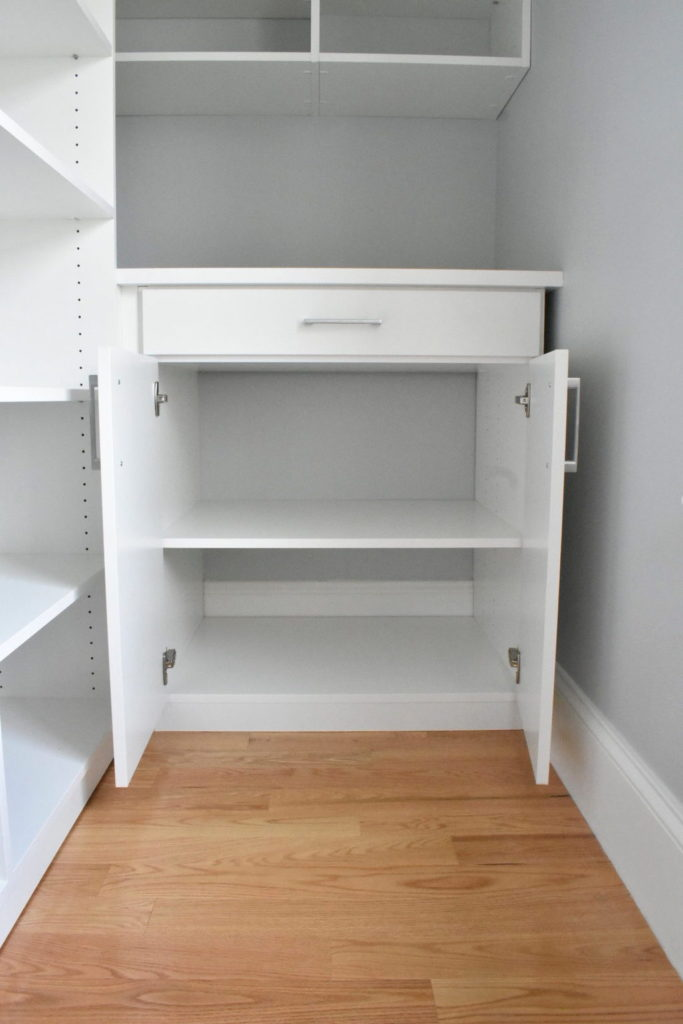 empty white pantry cabinet