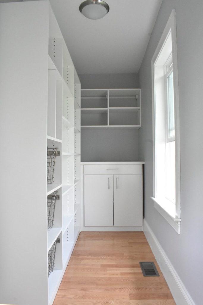white pantry shelving
