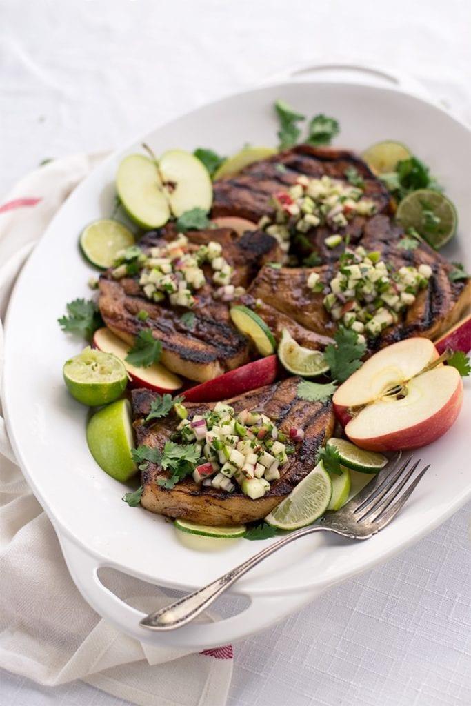 Grilled pork chops with apple salsa