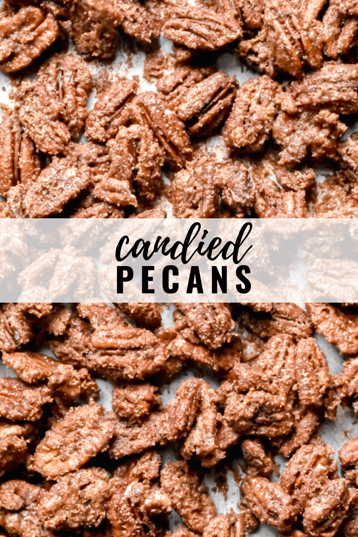 Candied Pecans: An easy gift for the holidays! Sweet and flavored with cinnamon and sugar, these candied pecans are an addicting snack that's perfect for a crowd. | stressbaking.com #stressbaking @stressbaking #pecans #snack #holidays #cinnamonsugar