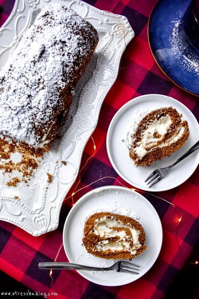 Gingerbread Cake Roll with Eggnog Cream Cheese Filling