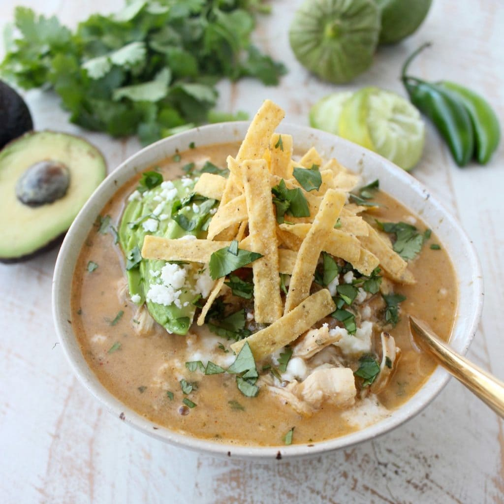 Green Chili Chicken Enchilada Soup by Whitney Bond