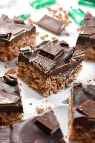 Mint Chocolate Rice Krispie Treats