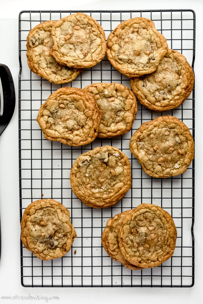 Salted Brown Butter Toffee Chocolate Chunk Cookies