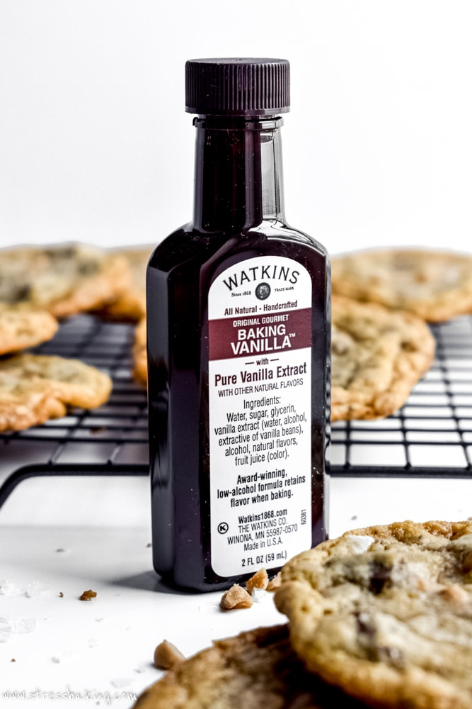 Salted Brown Butter Toffee Chocolate Chunk Cookies and The Watkins Co. Vanilla extract