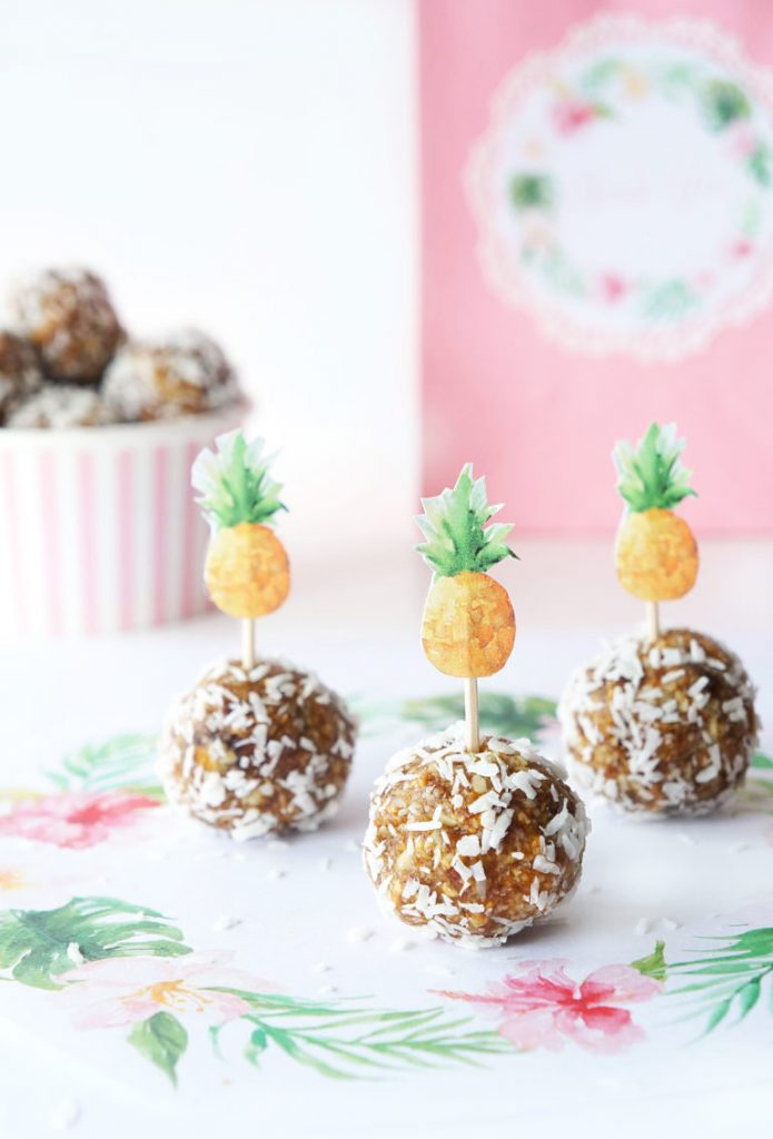 No Bake Pina Colada Energy Bites by Haute & Healthy Living