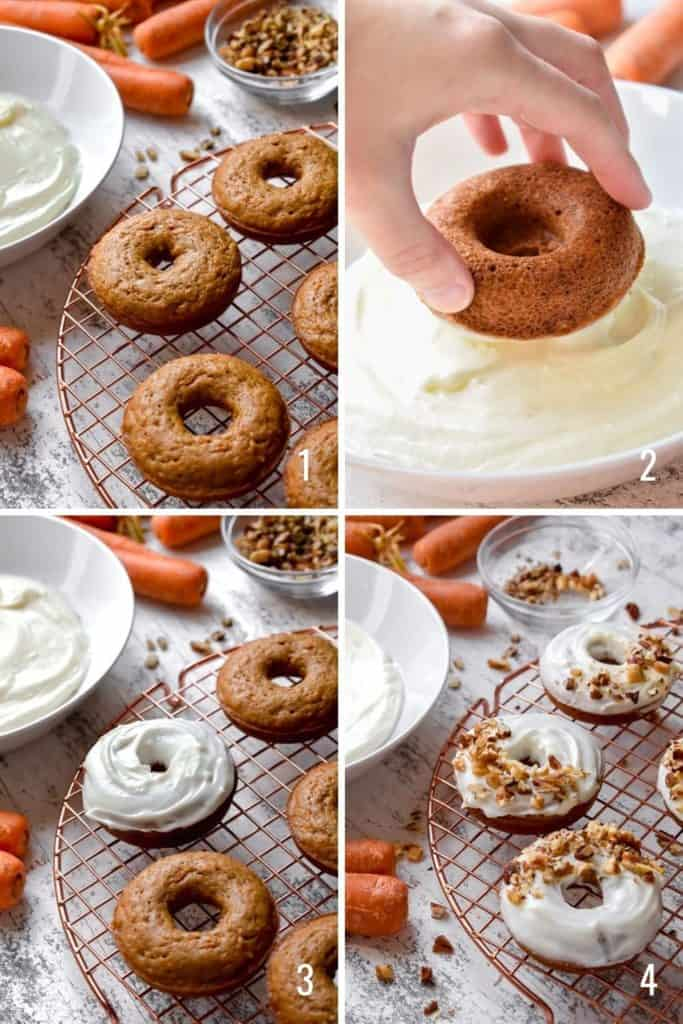 Four photo collage of dipping donuts in cream cheese frosting and topping with nuts