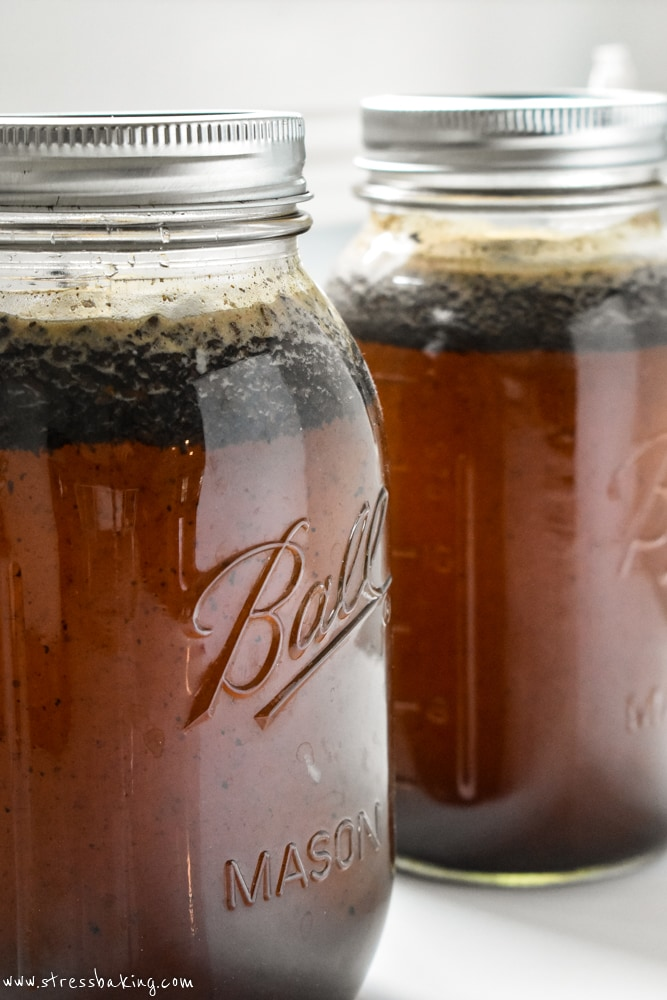 Homemade cold brew coffee in mason jars