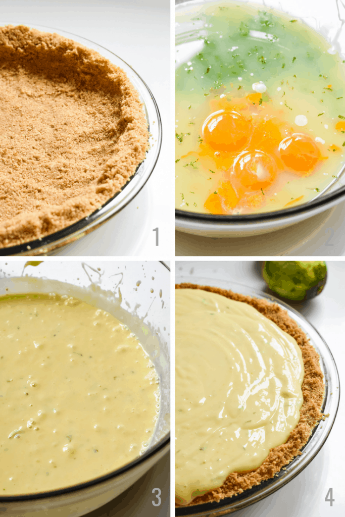 Step by step photos of making key lime pie filling