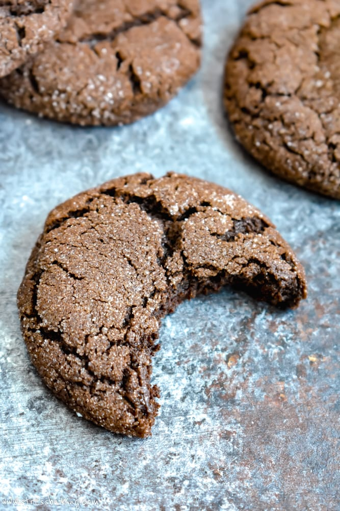 Stack of Chewy Mexican Hot Chocolate Cookie with a bite taken out of it