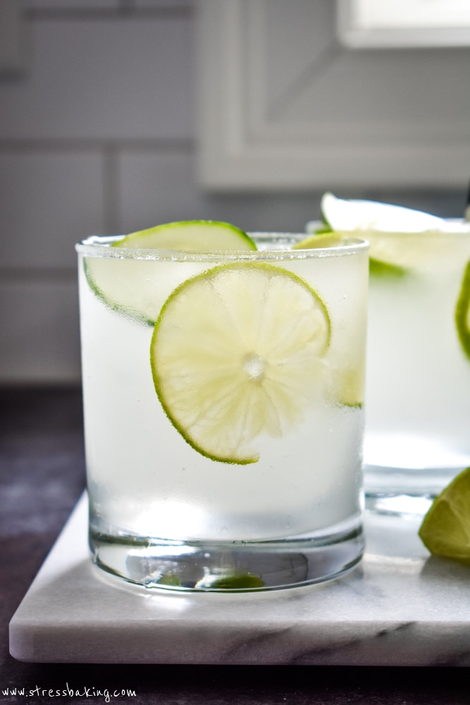 Frozen gin and tonic in clear glasses